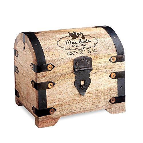 individueller Gravur zur Geburt – Personalisiert mit [Namen] und [Datum] – Geschenk zur Geburt aus hellem Holz – Spardose (Personalisierte Spielzeug-truhen)
