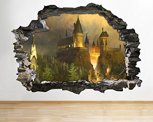 Price comparison product image H062 Harry Potter Hogwarts Smashed Wall Decal Poster 3D Art Stickers Vinyl Room(Medium (52x30cm))