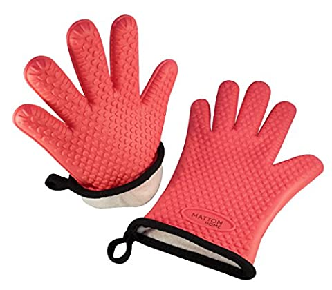 Matton Home Premium Silicone Oven Gloves with Brushed Cotton Lining