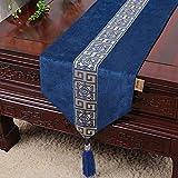 Drapeau de table table à manger minimaliste moderne de style néo-classique drapeau drapeau de table de table occidentale napperon bleu foncé 13x90.1in (33x230cm)