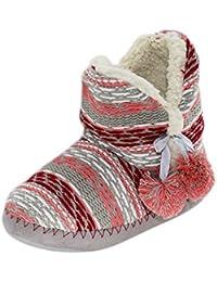 Brand sseller Mujer Zapatillas cabaña Botas Forro de Punto con pompón y Circular Suela – Tallas: 36 – 41 – Colores:…