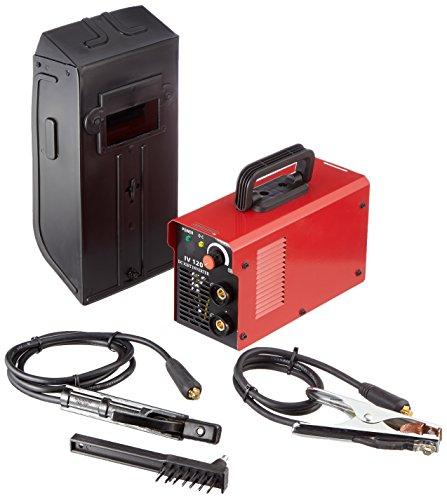 Matrix 170200117 IV 130 Inverter-Schweißgerät, 3200 W, 20-120 Ampere, mit Zubehör, Schweißmaske, Drahtbürste, Überhitzungsschutz, Schlauchpaket 1,8 Meter, 230 V, Rot/Schwarz