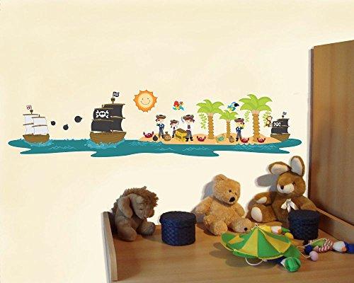 Preisvergleich Produktbild Pirateninsel Piraten Piratenschiff Wandtattoo Wandaufkleber Kinderzimmer in 2 Größen (130x30cm mehrfarbig)