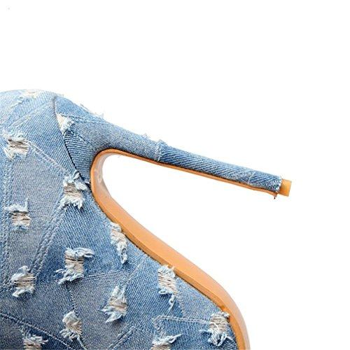 ENMAYER Pointe Toe Super Hauts Talons Matériel Denim Chaussures Mid-Calf pour Femmes Bottes d'hiver Bleu