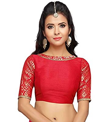 Studio Shringaar Women's Brocade And Silk Readymade Saree Blouse With Boat Neck And Elbow Length Sleeves