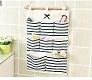 GRETAL Hanging Organizer with Pockets Fabric Wall Door Storage Home Cloth Closet Organizing Bags - Blue Stripe