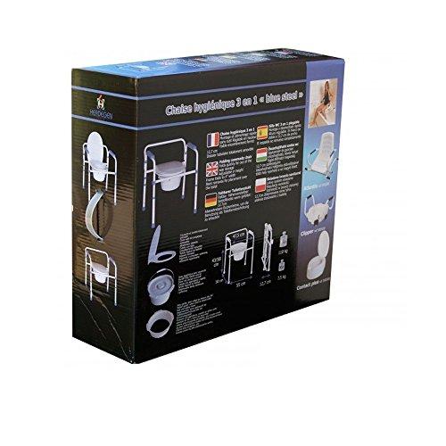 """Faltbarer Toilettenstuhl """"3 in 1"""": als Toilettenstuhl, Toilettensitzerhöher und sicheren Toilettenrahmen"""