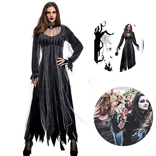 RISILAYS Halloween Horror Luxus Friedhof Braut Kostüm Geist Braut Zombie Kostüm Bar Party Bühne Vampir Dämon Kostüm,Black,L