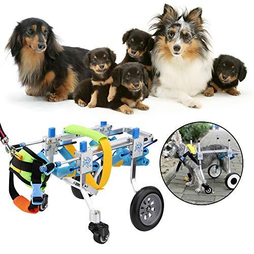 51bCAc9gwKL - Pssopp Silla de Ruedas para Perros, Ajustable Silla de Ruedas para Mascotas 4 Ruedas Carrito para Perros Rehabilitación de Patas Delanteras y traseras para discapacitados Perro pequeño Perrito Gato