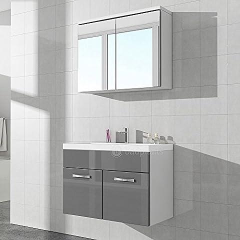 Badezimmer Badmöbel Paso 02 80 cm Waschbecken Hochglanz Weiß Fronten - Unterschrank Schrank Waschbecken Spiegelschrank Schrank