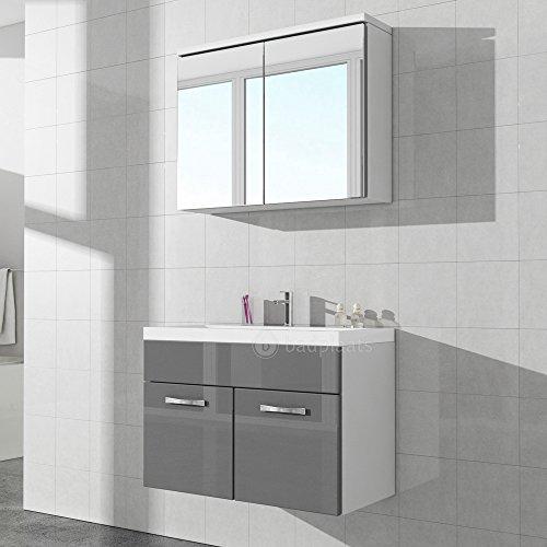 #Badezimmer Badmöbel Paso 02 80 cm Waschbecken Hochglanz Weiß Fronten – Unterschrank Schrank Waschbecken Spiegelschrank Schrank#