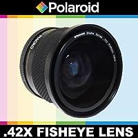 Obiettivo fisheye ad alta definizione .42x di Polaroid Studio Series con fissaggio Macro, include una custodia di obiettivo e i coperchi di obiettivi per l