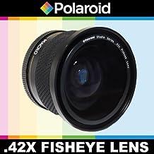Polaroid Studio Series, 42X Objetivo ojo de pez de alta definición con accesorio para Macro, con funda y tapas para Canon EOS-M cámara sin espejo que tiene las (18-55mm) lente Canon EF-M