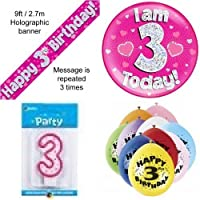 3rd Birthday Party Set Age 3 Girls (Banner Balloons, Candle, Badge)