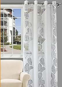 140x245 weiß Vorhang Vorhänge Ösenschal Fensterdekoration Blätter retro