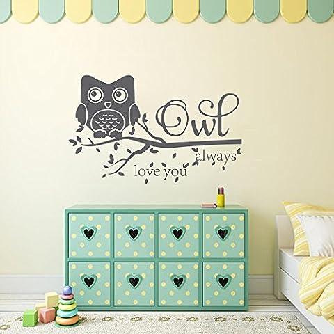 Adesivo da parete, decorazione gufo Civetta sempre Love You Adesivo da parete cameretta in vinile da parete (Grigio Scuro, 21.5H X34