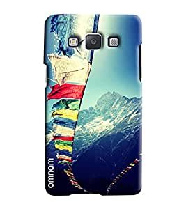 Omnam Natural Himalayan View With Flags Printed Designer Back Cover Case For Samsung Galaxy E5
