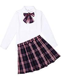 iEFiEL Disfraz de Escolar Uniforme Estudiante para Niña Conjunto 3PCS Top Blusa Plisada Falda Escocesa y