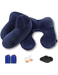 MLVOC Cuscino a collo in cuscino gonfiabile a forma di U per il collo che supporta il peso leggero per dormire su aerei, auto e treno Include EarPlugs, EyeMask e Drawstring Bag, confezione da 2