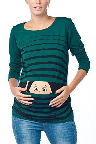 Witzige süße Umstandsmode T-Shirt mit Motiv Schwangerschaft Geschenk - Langarm (Medium, Dunkelgrün)