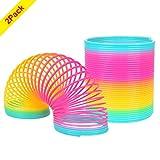 YoungRich 2 Pezzi Molla Giocattolo Magia Arcobaleno Spiral Toy Circle Classico Gradient Rainbow Spiral Jump Spirale Toy per Bambini 10cm di diametro