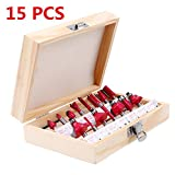 15 Pcs Milling Router Bit Set Shank Carpenter 1/4 di Strumenti per Tagliare Incisione Lavorazione del Legno Rosso