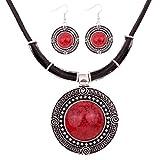 YAZILIND vendimia de la PU de la cadena del cuero Declaración de plata tibetana redondo rojo Babero colgante turquesa collar pendientes establecidas