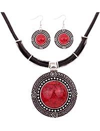 Yazilind la vendimia de la PU de la cadena del cuero de plata tibetana Ronda babero colgante turquesa Declaración collar pendientes establecidas