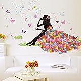Jamicy® Neuer Schmetterling Blume Fee Aufkleber Baby Mädchen Schlafzimmer Wohnzimmer Wandtattoo (B)