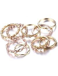 Rinhoo Bohemian Vintage Women Crystal Joint Knuckle Nail Ring Set of 10pcs Finger Rings Punk Ring Gift