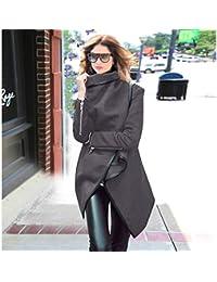 GSYDWY Mujeres Otoño Jersey Woolen Irregular Cortavientos Femeninos Otoño largas Abrigo, Color Gris, tamaño