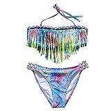 Kleinkinder Baby Mädchen Quaste Badekleidung Schwimmanzug Bikini Sets 2-15 Jahre (164, Gelb)