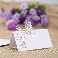 Gnany(TM) Romantico intagliato farfalle Tabella Mark nome di carta del posto di compleanno di cerimonia nuziale di banchetto della decorazione fornisce 50pcs / pack