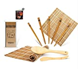 Bamboo Sushi Making Kit, Carbonized Rolling Mat for Mold-Resistant, Included 2 Rolling Mats - 5 Pairs Chopsticks - Paddle - Spreader - Beginner