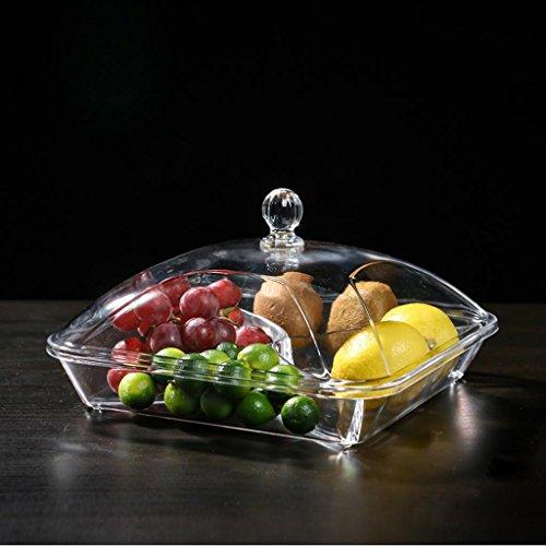 xiaowu Obstteller Moderne kreative Wohnzimmer Trockenobst Platte Sub-Grid mit Süßigkeiten durchsichtig Kunststoff-Glas bedeckt (Quadratisch Durchsichtigen Kunststoff-platten)