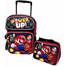 cartable trolley sac a dos super mario power up noir 40cm x 30cm