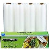 KitchenBoss Bolsas de Vacío 4 Rolls 20x500cm con Caja de Corte (No Más Tijeras) para Almacenaje de Alimentos,Sous Vide Cocina, Aprobación de la FDA y BPA Free