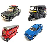 Combo Of 4 Vehicle Toys | Ambassador Taxi, Mahindra XUV 500 Car, Auto Rickshaw And Double Decker Bus Toy For Kids |Toys For Show Piece | Miniature/Model Car Toys |Pull Back And Go | Openable Doors | Black, Blue, Black And Red Color, Set Of 4 Toys