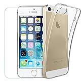 Yoowei Coque iPhone SE/5/5s avec [Verre trempé écran Protecteur], Transparente Silicone en Gel TPU Etui Apple iPhone SE/5/5s Coque de Protection Housse Antichoc Cover pour iPhone SE/5/5s
