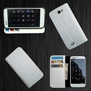 i-KitPit - PU Leather Wallet Flip Case Cover For Lava Xolo Q700 (WHITE)
