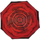 EnnE Compact Regenschirm Rot Rose Regenschirm Faltbar Regenschirm Regen Winddicht Schirme UV-Schutz 8Rippen