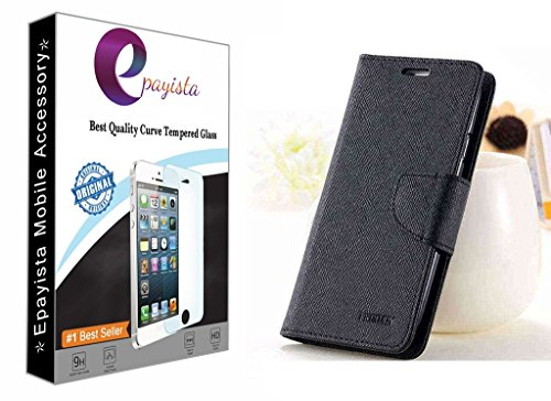 Amazon Presents Imported & 100% Original Mercury Goospery Fancy Diary Card Wallet Flip Case Cover For Samsung Galaxy S Duos S7562 / GT-S7562 / S7582 (Black) + 2.5D & 0.3mm Pro Curve Tempered Glass With FREE Installation Kit  available at amazon for Rs.299