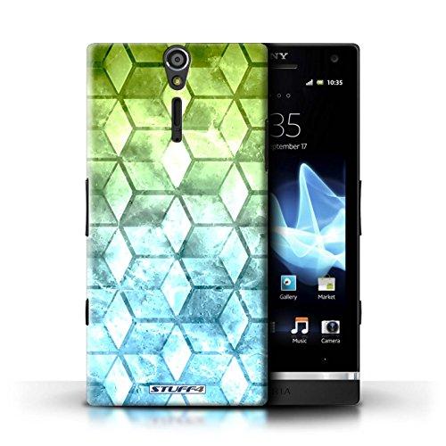 Kobalt® Imprimé Etui / Coque pour Sony Xperia S/LT26i / Bleu/verd conception / Série Cubes colorés Vert/Bleu