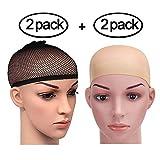 4gorros elásticos para pelucas de PrettyDate, nailon, color beige y negro, malla con extremo abierto