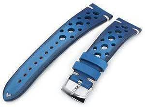 Cinturino per orologio in pelle con cinturino 20mm o 22mm MiLTAT Cinturino per orologio blu vintage fatto a mano Racer, cuciture bianche