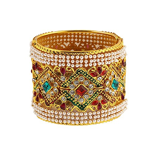 Zeneme Designer American Diamond Gold Plated Kada Bangle Jewellery For Women / Girls