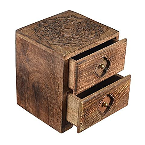 Diwali Gifts, Shabby Chic Vintage Style Mango Wood Tea Holder Box Organiser Tea Coffee Spices Holder 6 Compartment Kitchen Accessories cases storage Hand Carved with Embossed Floral