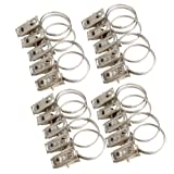 #1: Awakingdemi Window Shower Curtain Rod Clips,20Pcs Stainless Steel Bath Curtain Rod Clips Rings Drapery Clips As Picture