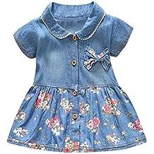 Venta caliente !Ropa para niños, FeiXiang♈Vestido de verano de bebé niña pequeña flor arco de manga corta vestido de mezclilla princesa 2018 más reciente