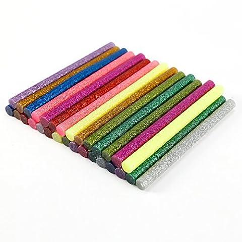 Paillettes Hot Melt Glue adhésif Bâtons 100 x 7 mm pour chauffage Pistolet à colle Lot de 30(10pcs or, argent 10pcs, 10pcs